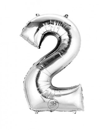 """40"""" Balloon Silver Number 2"""