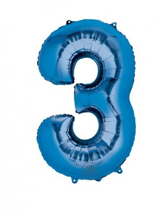 "40"" Foil Balloon Blue Number 3"