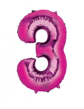 "40"" Foil Balloon Pink Number 3"