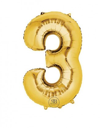 """40"""" Balloon Gold Number 3"""