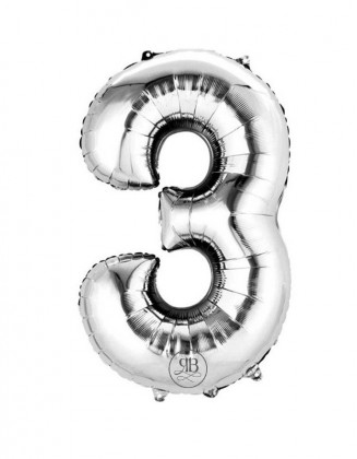 """40"""" Balloon Silver Number 3"""