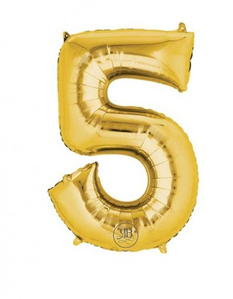 """40"""" Balloon Gold Number 5"""