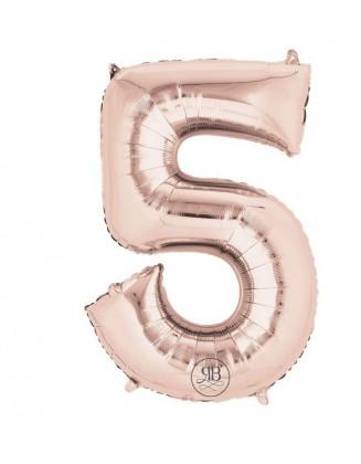 "40"" Foil Balloon Rose Gold Number 5"