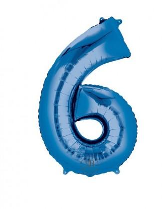 "40"" Foil Balloon Blue Number 6"