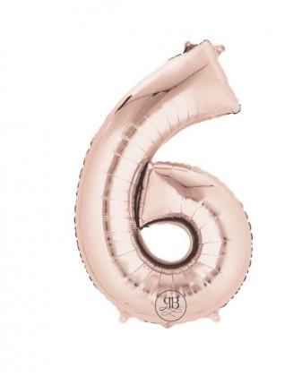 "40"" Foil Balloon Rose Gold Number 6"