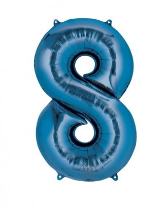 "40"" Foil Balloon Blue Number 8"
