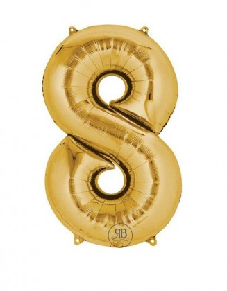 """40"""" Foil Balloon Gold Number 8"""