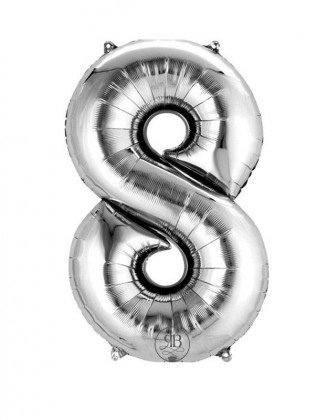 """40"""" Foil Balloon Silver Number 8"""