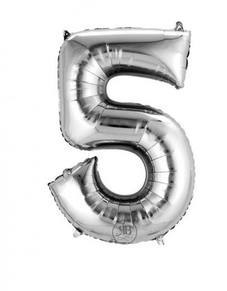 """16"""" Foil Balloon Silver Air-Fill Number 5"""