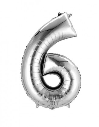 """16"""" Foil Balloon Silver Air-Fill Number 6"""