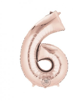 """16"""" Foil Balloon Rose Gold Air-Fill Number 6"""