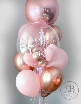 Rose gold - Pink Birthday Balloon Bouquet/ Silver - Blue