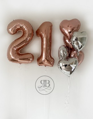 2 Numbers 40'' and 6 hearts 18'' silver/rose gold