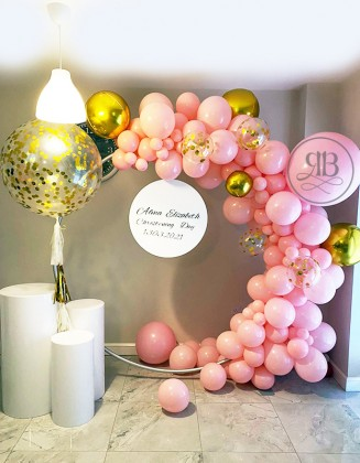 Decoration balloon arch with small Bespoke Backdrop