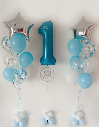 First Birthday Helium Bouquet of balloons