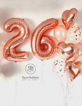 Any 2 numbers and a bouquet of balloons